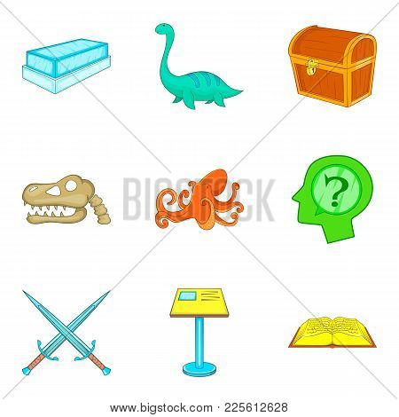 Museum Management Icons Set. Cartoon Set Of 9 Museum Management Vector Icons For Web Isolated On Whi