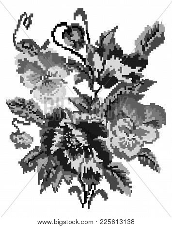 Bouquet Of Flowers (poppies And Pansies) Using Traditional Ukrainian Embroidery Elements. Black And