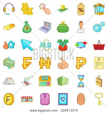Mobile Deal Icons Set. Cartoon Set Of 36 Mobile Deal Vector Icons For Web Isolated On White Backgrou