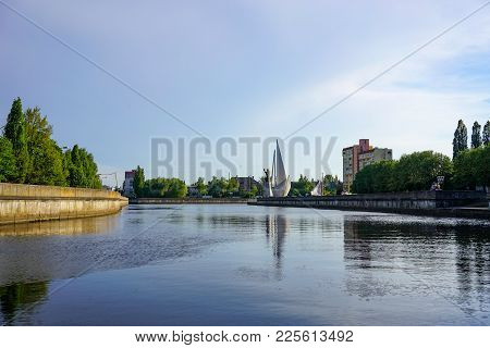 Kaliningrad, Russia - May 11, 2016: Cityscape With View Of The River, A Monument To Saint Nicholas A