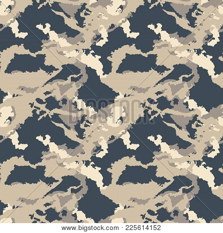 Dark Urban Camouflage Of Various Shades Of Beige, Gray And Navy. It Is A Colorful Seamless Pattern T