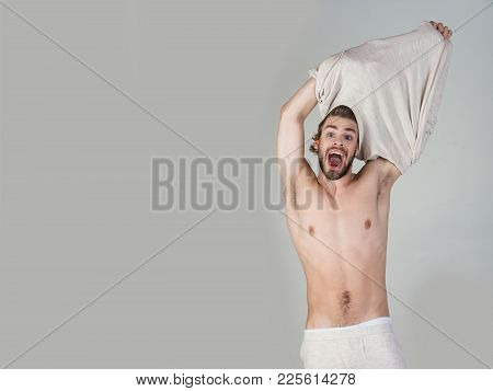 Morning Wake Up, Everyday Life. Barber And Hairdresser, Male Fashion. Sleepy Man Undress On Grey Bac