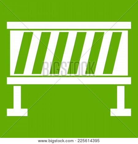 Traffic Barrier Icon White Isolated On Green Background. Vector Illustration