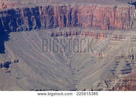 A Close Up View Of The Bottom Of The South Rim In Arizona