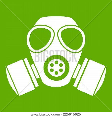 Chemical Gas Mask Icon White Isolated On Green Background. Vector Illustration