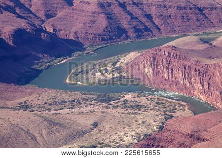 The Colorado River Winds It Through The Grand Canyon In Arizona