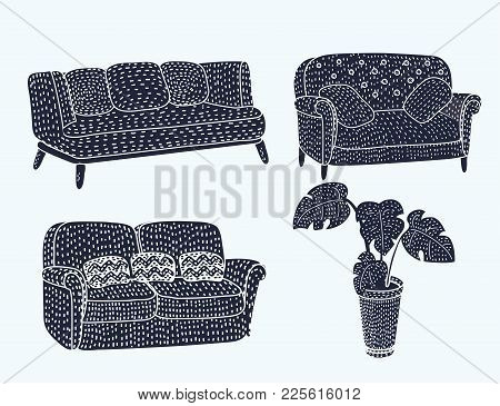 Vector Illustration Of Cute Different Type Comfortable Black Sofa Coach Furniture Icon Set Set With