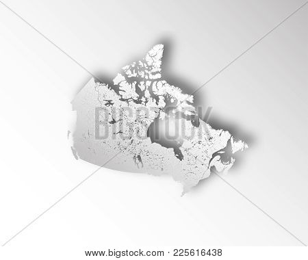 Map Of Canada With Paper Cut Effect. Rivers And Lakes Are Shown. Please Look At My Other Images Of C