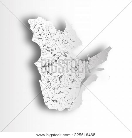 Provinces And Territories Of Canada - Map Of Quebec With Paper Cut Effect. Rivers And Lakes Are Show