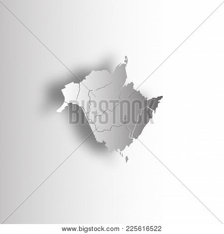 Provinces And Territories Of Canada - Map Of New Brunswick With Paper Cut Effect. Rivers And Lakes A