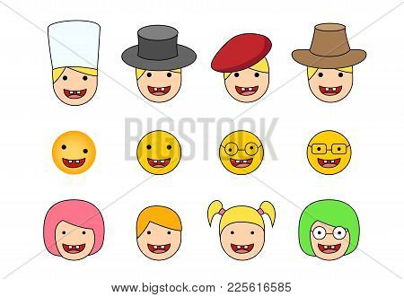 Set Of Down Syndrome Kid Icon In Flat Style, Vector
