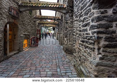 Medieval Street St. Catherine's Passage Half-hidden Walkway In Old Town.