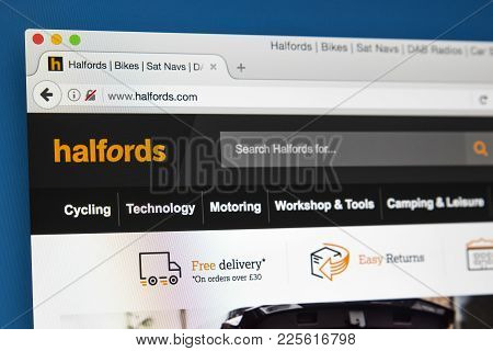 London, Uk - August 10th 2017: The Homepage Of The Official Website For Halfords, The British Retail