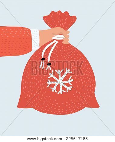Vector Cartoon Funny Illustration Of The Hand Of Santa Claus Holding A Bag With Presents. Merry Chri