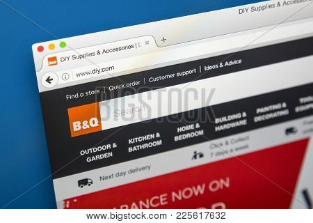 London, Uk - August 10th 2017: The Homepage Of The Official Website For B&q, The British Retailer Of