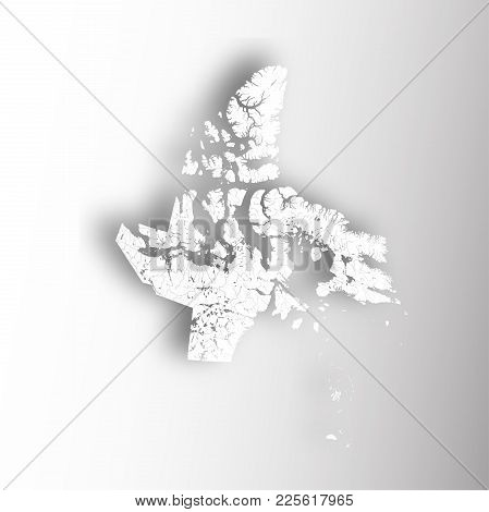 Provinces And Territories Of Canada - Map Of Nunavut With Paper Cut Effect. Rivers And Lakes Are Sho