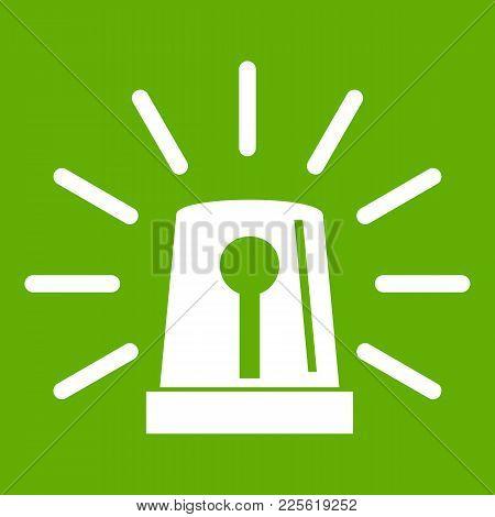 Flashing Emergency Light Icon White Isolated On Green Background. Vector Illustration