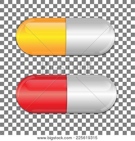 Set Of Color Pills. Medicine Painkiller Pills. Vector Illustration.