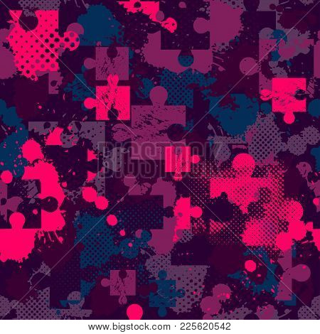 Abstract Seamless Puzzle Pattern For Girls, Boys. Creative Vector Pattern With Puzzle, Square, Splas