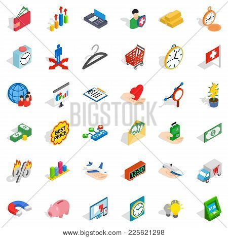 Checkout Icons Set. Isometric Set Of 36 Checkout Vector Icons For Web Isolated On White Background