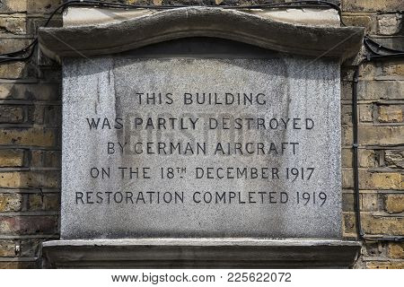 London, Uk - August 11th 2017: A Plaque On St. Johns Lane In London On 11th August 2017, Recording D
