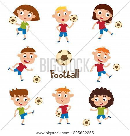 Vector Illustration Of Little Girls And Boys In Shirt And Short Playing Football. Set Of Cute Cartoo