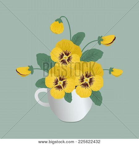 Yellow Pansy Flowers In A White Cup On A Gray Background. Floral Composition. Vector Illustration
