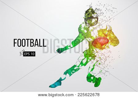 Silhouette Of A Football Player. Dots, Lines, Triangles, Text, Color Effects And Background On A Sep