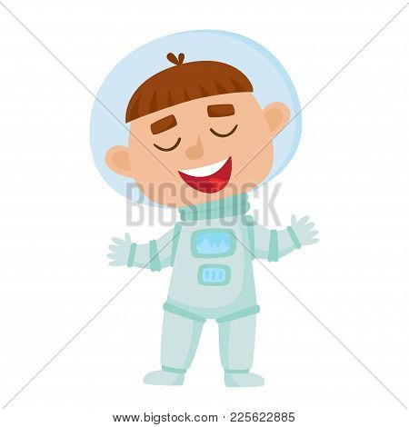 Standing Astronaut Kid Isolated On White Background. Cartoon Pretty Boy Wearing Astronaut Costume. V