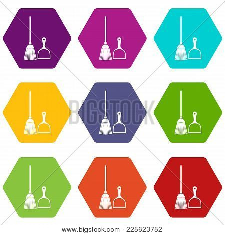 Broom And Dustpan Icon Set Many Color Hexahedron Isolated On White Vector Illustration