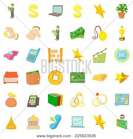Filthy Lucre Icons Set. Cartoon Set Of 36 Filthy Lucre Vector Icons For Web Isolated On White Backgr