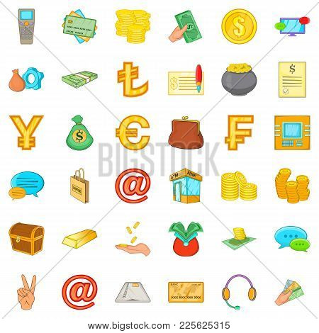 Real Asset Icons Set. Cartoon Set Of 36 Real Asset Vector Icons For Web Isolated On White Background