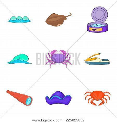 Nautical Life Icons Set. Cartoon Set Of 9 Nautical Life Vector Icons For Web Isolated On White Backg
