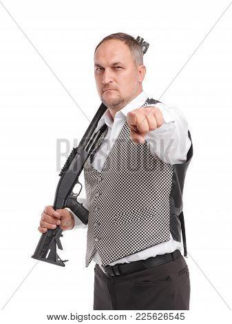 Stylish Man With Rifle. White Background. Profesional Hunter