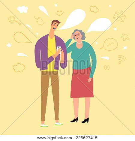 Young Man Telling Grandmother How To Use Internet On Gadgets. Vector Illustration About Technologies