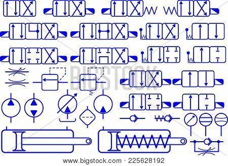 Vector Set Of Hydraulic Elements Symbols For Constructing Hydraulic Schemes. Valves, Throttles, Pump