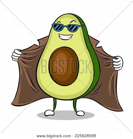 Avocado Exhibitionist In Raincoat Pop Art Retro Vector Illustration. Cartoon Food Character. Isolate
