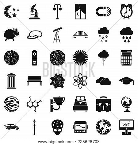Deep Space Icons Set. Simple Set Of 36 Deep Space Vector Icons For Web Isolated On White Background