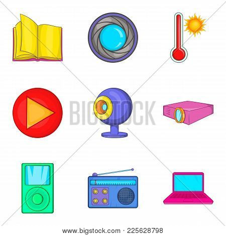 News Portal Icons Set. Cartoon Set Of 9 News Portal Vector Icons For Web Isolated On White Backgroun