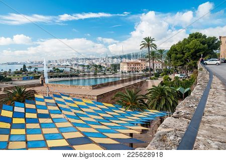 Palma De Mallorca, Spain - November 10, 2011: City View From Old Town Across To The Port On A Sunny