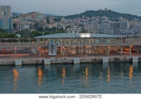 Palma De Mallorca, Spain -  July 14, 2012: Port Seen From The Ferry As It Arrives Fom Barcelona To P