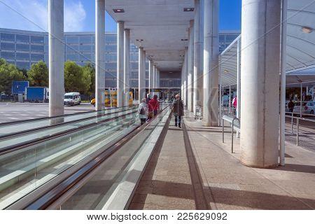 Palma, Mallorca, Spain On November 4, 2013: Palma Airport Outdoors On Walkway Towards Buses And Park