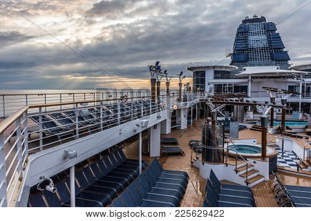 New Jersey-may 22: The Sunsets On The North Atlantic As The Celebrity Summit Cruise Ship Set Sails O
