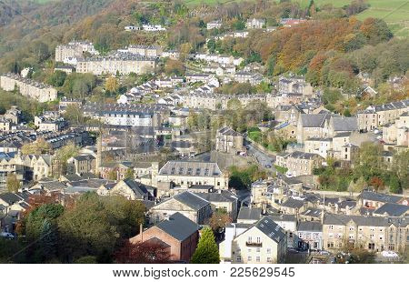 Panoramic Aerial View Of The Town Of Hebden Bridge In West Yorkshire Showing The Streets Houses And