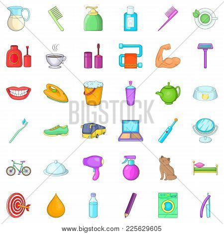 Next Day Icons Set. Cartoon Set Of 36 Next Day Vector Icons For Web Isolated On White Background
