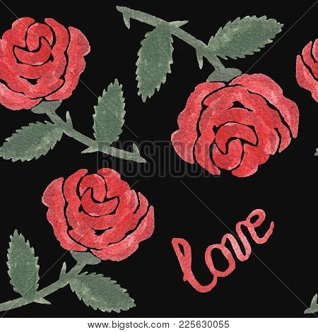 Seamless Patern With Watercolor Red Rose On The Black Background. Watercolor Rose Flower Seamless Pa