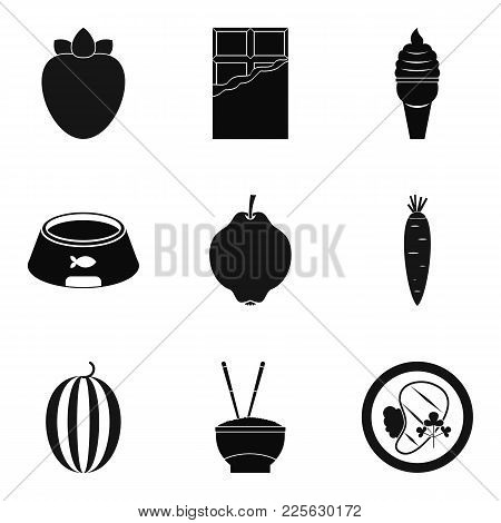Good Nutrition Icons Set. Simple Set Of 9 Good Nutrition Vector Icons For Web Isolated On White Back