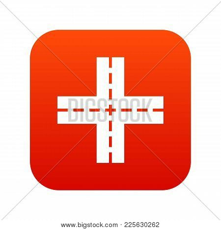 Crossing Road Icon Digital Red For Any Design Isolated On White Vector Illustration