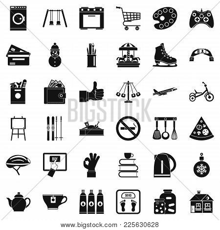 Long Childhood Icons Set. Simple Set Of 36 Long Childhood Vector Icons For Web Isolated On White Bac