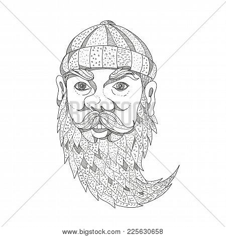 Doodle Art Illustration Of Head Of Paul Bunyan, A Giant Lumberjack In American Folklore With Full Be